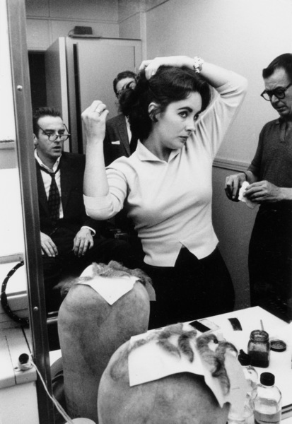 """Raintree County""Elizabeth Taylor in make-upwith Bill Tuttle (left w/ Glasses)1957 © 1978 Bob Willoughby - Image 3678_0013"
