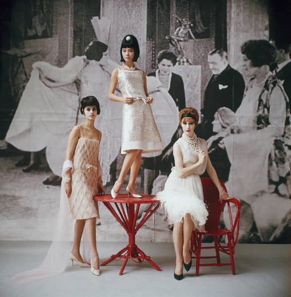 "Dior fashion model (left) wearing ""Annees Folles"" dress (Spring-Summer Haute Couture collection, Slim Look line)1961© 2013 Mark Shaw - Image 3956_0978"