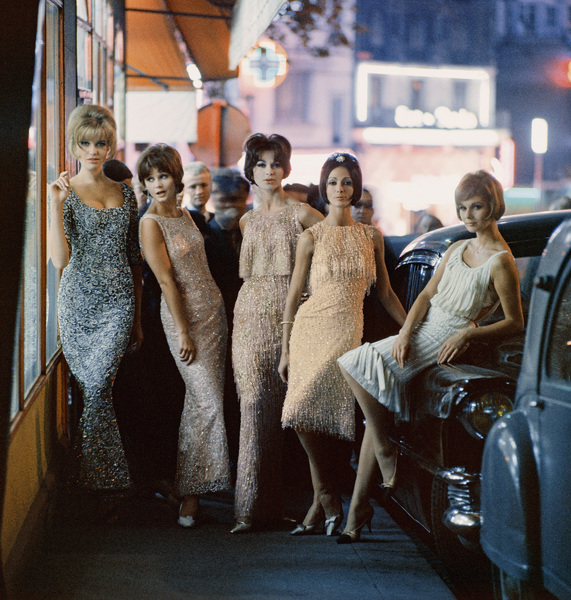 "Fashion models (third and fourth from left) wearing Dior ""Ondine"" and ""Ciel de feu"" dresses (Autumn-Winter Haute Couture collection, Charme line).  Also pictured are fashions from Ferreras, Matta and Desses1961© 2013 Mark Shaw  - Image 3956_1052"