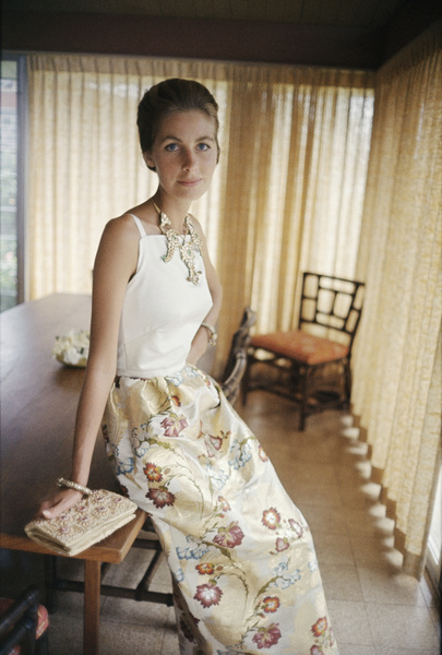 Mrs. Alfred Gwynne Vanderbilt wearing Tiger Morse at home1962© 2015 Mark Shaw - Image 3956_1231