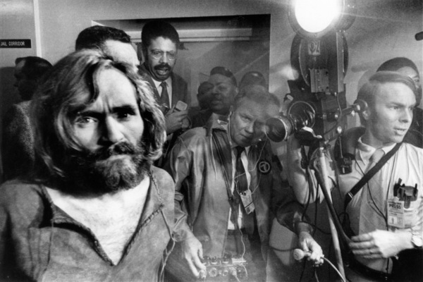 Charles Manson arriving at Los Angeles city jail after a trip from Independence, CaliforniaDecember 1969  - Image 4203_0052