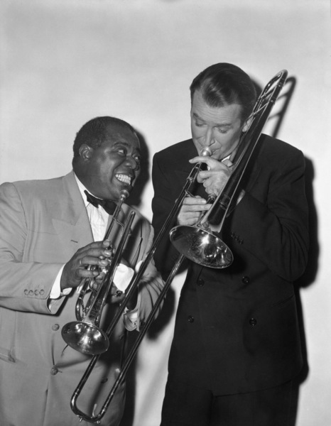 """Louis Armstrong and James Stewart in """"The Glenn Miller Story""""1953** I.V. - Image 5062_0109"""