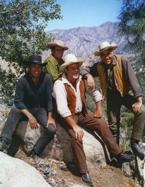 """Bonanza""Pernell Roberts, Michal Landon, Dan Blocker, Lorne Greene1959 NBCPhoto by Gerald Smith - Image 5424_0038"