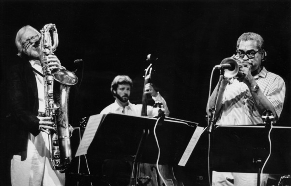 """Gerry Mulligan with Dean Johnson and Art Farmer at the """"Jazz Gipfel"""" concert, Stuttgart, Germany, 1992. © 1978 Bob Willoughby / MPTV - Image 7254_209"""