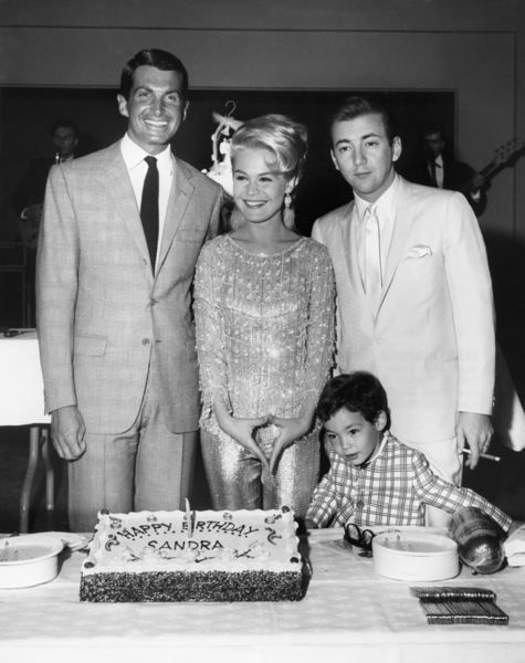 "George Hamilton, Sandra Dee, Bobby Darin and Todd Darin on the set of ""Doctor, You"