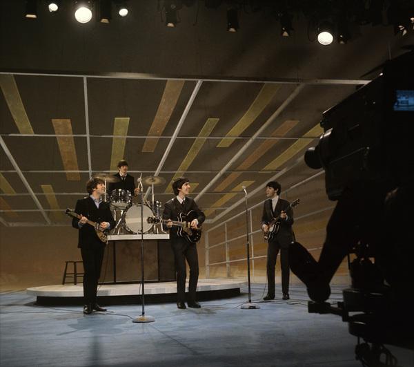 "The Beatles (Paul McCartney, George Harrison, Ringo Starr, John Lennon) rehearsing for their appearance on ""The Ed Sullivan Show""1964 © 1978 Gunther - Image 7685_0057"