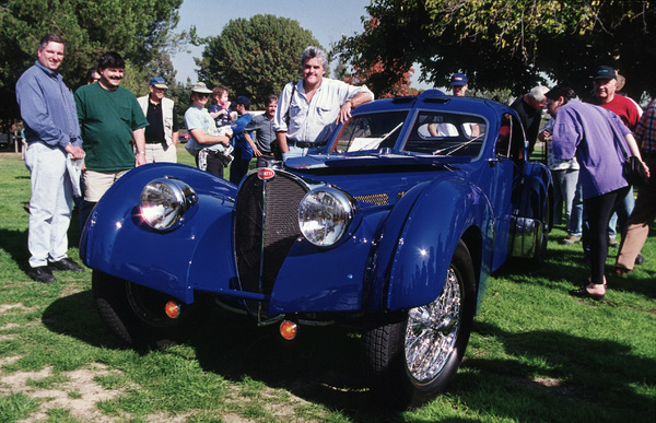 Jay Leno and his 1937 Bugatti Type 57SC at Woodley Park, CADecember 1998© 1998 Ron Avery - Image 7687_10