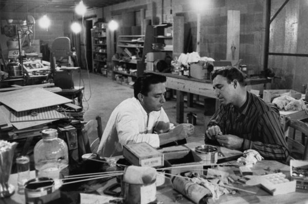 Johnny Cash with his best friend, and fishing buddy, Johnny Horton, getting ready for fishing trip1959** I.V.M. - Image 7857_0035