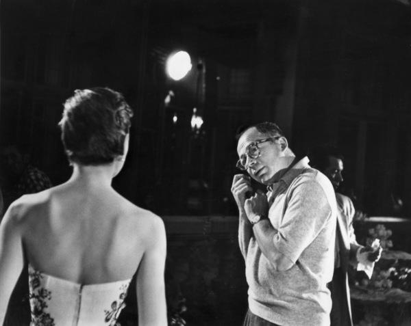 "Audrey Hepburn with director Billy Wilder on the set of ""Sabrina"" 1953© 2000 Mark Shaw - Image 8124_0029"