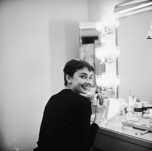 """Audrey Hepburn is her dressing room during the filming of """"Sabrina""""1953© 2000 Mark Shaw - Image 8124_0088"""