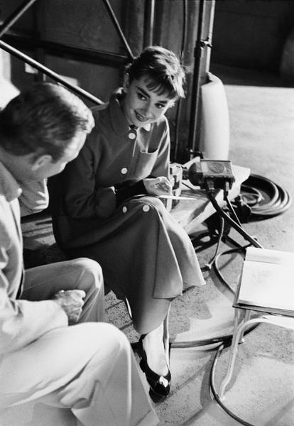 """Audrey Hepburn on the set of """"Sabrina""""1953© 2000 Mark Shaw - Image 8124_0096"""
