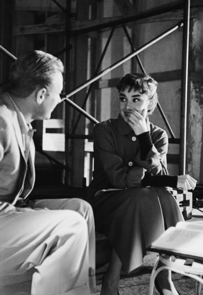 "William Holden and Audrey Hepburn on the set of ""Sabrina""1953© 2000 Mark Shaw - Image 8124_0098"