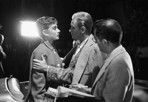 "Audrey Hepburn and William Holden on the set of ""Sabrina""1953© 2007 Mark Shaw - Image 8124_0110"