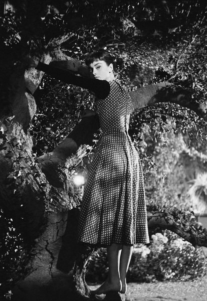"Audrey Hepburn on the set of ""Sabrina""1953© 2007 Mark Shaw - Image 8124_0114"