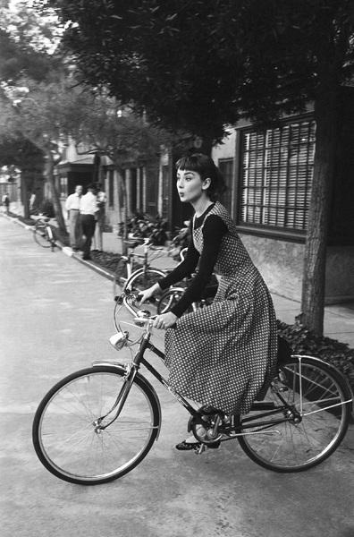"""Audrey Hepburn on the set of """"Sabrina""""1953© 2007 Mark Shaw - Image 8124_0116"""