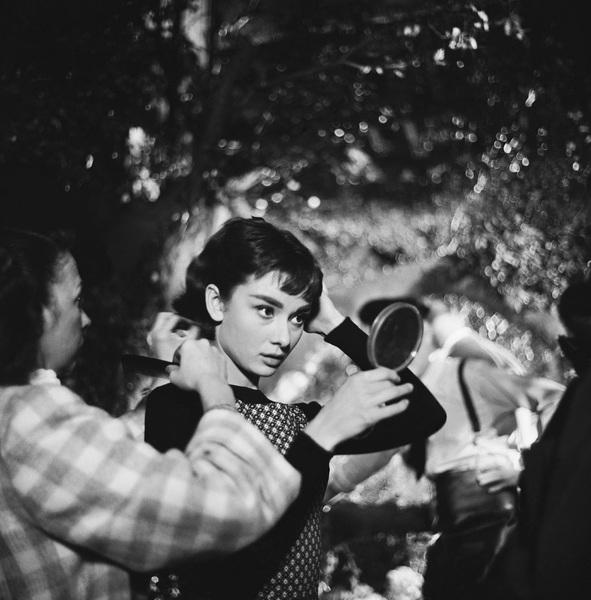 """Audrey Hepburn on the set of """"Sabrina""""1953© 2000 Mark Shaw - Image 8124_0118"""