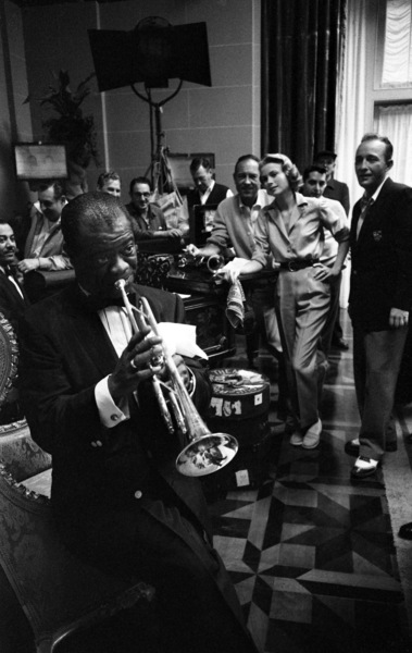 """""""High Society""""Louis Armstrong, Charles Walters (director), Grace Kelly, Bing Crosby1956 MGM© 1978 Bob Willoughby - Image 9137_3"""
