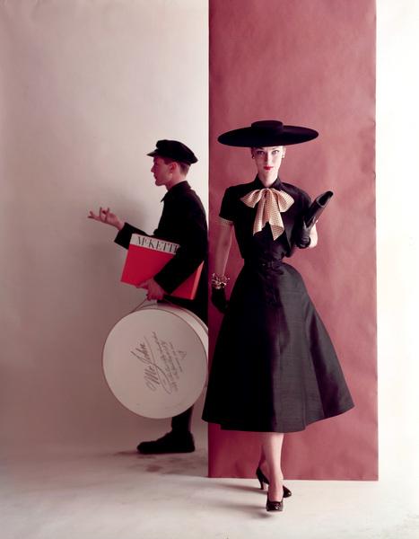"""Advertising"" (McKettrick ad)Black dress with polka dot bow and black hatcirca 1956 © 2000 Mark Shaw - Image 9277_0120"