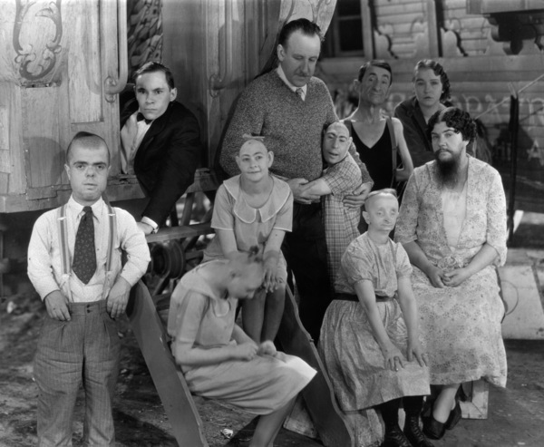 """Freaks""Director Tod Browning (center) with cast1932 MGM** I.V. - Image 9432_0012"
